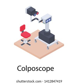 Gynecological technology colposcope isometric icon