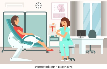 Gynecologist Consultation. Medical Health care Set. Doctor and Patient in Clinic. Woman in Gynecological Chair. Gynecology and Woman Health Concept. Vector Flat Illustration.