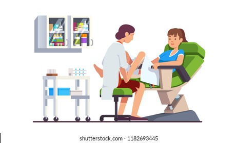 Gynecologist doctor examining woman lying in gynecological chair. Cervix checkup screening appointment. Female visiting gynecologist. Clinic obstetrician office interior. Flat vector illustration