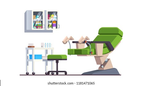 Gynecologist doctor office. Patient examination room with gynecological chair, table and cabinet. Medical equipment. Health care and Gynecology. Flat style vector illustration isolated on white