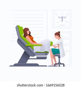 A gynecologist is examined by a patient who is sitting in a gynecological examination chair. Pregnancy, woman, gynecology, medicine, health care concept vector illustration.