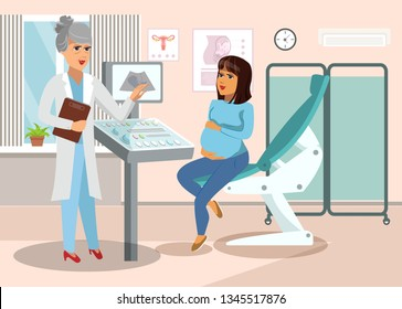 Gynecologist at Hospital Cartoon Illustration. Doctor and Patient Female Vector Characters. Pregnant Woman in Doctors Office. Healthcare Flat Illustration. Motherhood, Childbirth Vector Poster