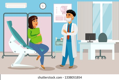 Gynecologist, Obstetrician in Clinic Flat Drawing. Doctor and Patient Cartoon Characters. Pregnant Woman in Doctors Office. Lady Sitting on Examination Chair Clipart. Motherhood Vector Poster