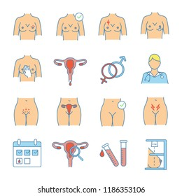 Gynecology color icons set. Women's health. Breast examination. Female reproductive system disorders. Isolated vector illustrations