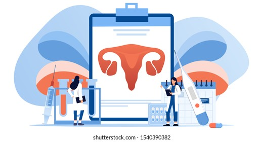 Gynecology, female health. Uterus, ovary and womb. Medical treatment. Endometriosis, endometrium dysfunctionality, endometriosis treatment concept. Doctor make uterus examination. For banner, web page