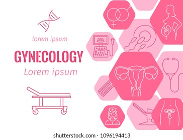 Gynecology flat banner with line icons of pregnancy and childbirth obstetrics fetus symbol diagnostic equipment medical tools dna vector illustration. Isolated on pink background. Place for text