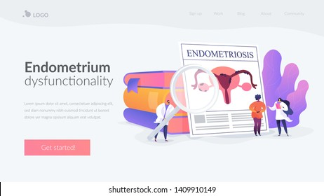 Gynecology, obstetrics clinic. Gynecologist and female patient, diagnosis. Endometriosis, endometrium dysfunctionality, endometriosis treatment concept. Website homepage header landing web page