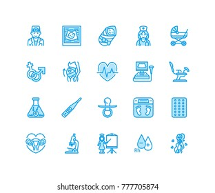 Gynecology, obstetrics vector flat line icons. Pregnancy medical elements - baby ultrasound, in vitro fertilization, test, uterus, pregnant woman. Pixel perfect 64x64.