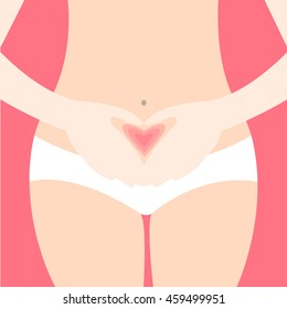 Gynecology Vector illustration Woman holds her clasped hands in the shape of heart before stomach