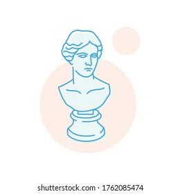 Gypsum head sculpture bust vector icon outline