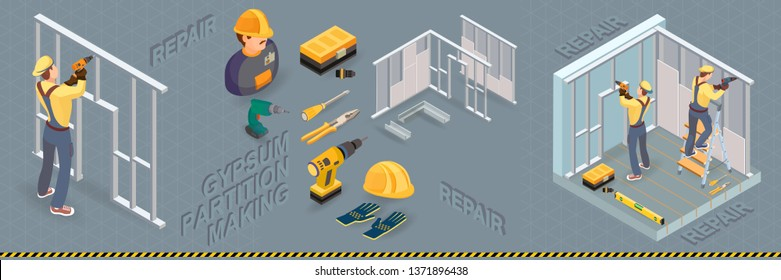 Gypsum partition making. Drywall  work. Building services. Isometric interior repairs concept. Worker and equipment icon. Plasterboard is installed on the wall in the construction site. Vector.