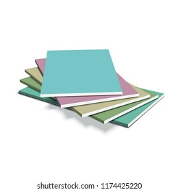 Gypsum plasterboard in the pack. A stack of sheets of drywall. Vector illustration.