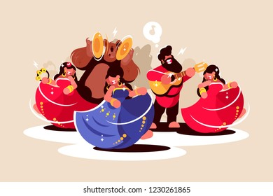 Gypsy ensemble dancing and playing on instruments. Women in beautiful colorful dresses man with guitar and bear with musical cymbals flat style concept vector illustration