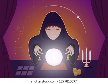 Gypsy Fortune Tellers using magic ball, vector art