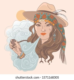 Gypsy lady smoking a pipe. Vector hand drawn illustration