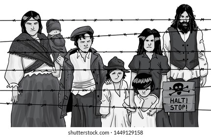 Gypsy men women and children inside prison camp during the second world war