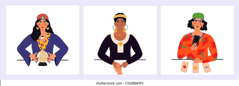 Gypsy oracle. Mystic ladies. Women are telling the future by seeing the hand, crystal ball and cards. Beauty Fortune tellers. Vector illustration in cartoon style