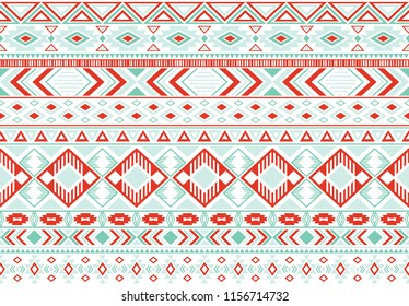 Gypsy pattern tribal ethnic motifs geometric vector background. Cute gypsy tribal motifs clothing fabric textile print traditional design with triangles