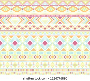 Gypsy pattern tribal ethnic motifs geometric seamless background. Vintage gypsy geometric shapes sprites tribal motifs clothing fabric textile print traditional design with triangles