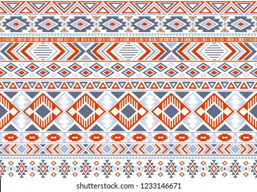 Gypsy pattern tribal ethnic motifs geometric seamless background. Modern geometric shapes sprites tribal motifs clothing fabric textile print traditional design with triangles