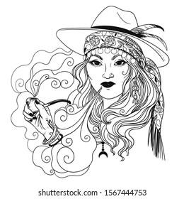 Gypsy smoking a pipe. Vector hand drawn illustration
