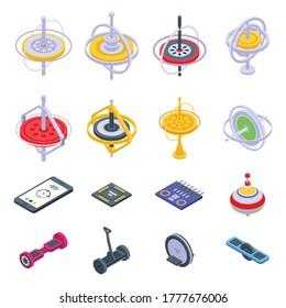 Gyroscope icons set. Isometric set of gyroscope vector icons for web design isolated on white background