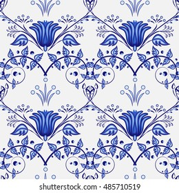 Gzhel blue floral background. Seamless pattern of flowers Chinese or Russian porcelain painting with flowers branches and leaves. Vector illustration