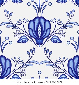 Gzhel style background. Seamless pattern of Chinese or Russian porcelain painting with large blue flowers. Vector illustration