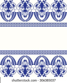 Gzhel style border pattern. Blue porcelain russian or chinese ceramic swirl design