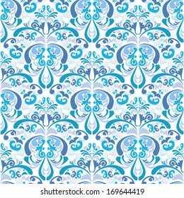 Gzhel style damask background. Seamless pattern. Blue on white colors of Gzhel style of Russian ceramics. Vector elements are grouped. Drop into your AI swatches and use as fill.