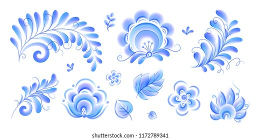 Gzhel style flowers and leaves vector elements set isolated on white background