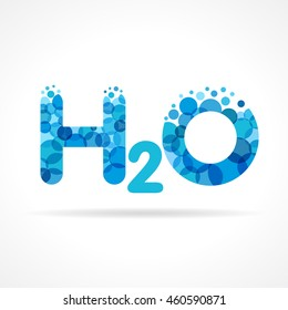 H 2 O logotype concept. Isolated abstract design. Blue colored water formula H2O graphic template. Pure clear drinking bubbles bunch. Corporate healthcare branding identity. Washing sparkling sign.