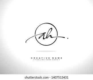 A H AH initial handwriting logo template vector.  signature logo concept.txt
