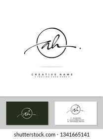 A H AH initial logo signature template vector. Handwriting concept logo.