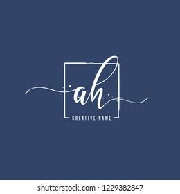 A H AH Initial logo template vector