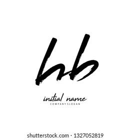 H B HB Initial brush logo template vector