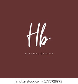 H B HB Initial handwriting or handwritten logo for identity. Logo with hand drawn style.