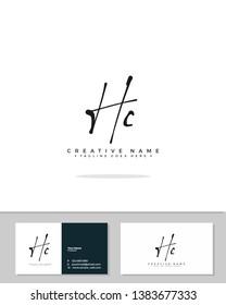 H C HC initial handwriting logo template vector.  signature logo concept
