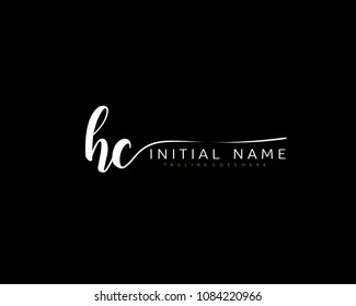 H C Initial handwriting logo vector. Hand lettering for designs.