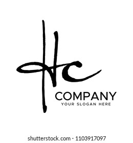 H C Initial Letter handwriting logo vector. Hand lettering for designs