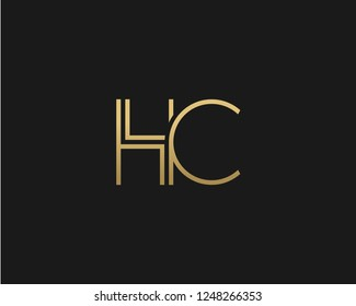 H C Unique Minimal Style golden and black color initial based logo