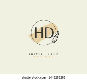 H D HD Beauty vector initial logo, handwriting logo of initial signature, wedding, fashion, jewerly, boutique, floral and botanical with creative template for any company or business.