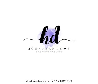 H D HD Initial watercolor logo on white background. Logo template vector