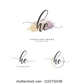 H E HE Initial letter handwriting and  signature logo.