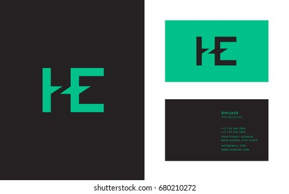H E joint letter logo design with business card template