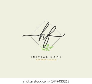 H F HF Beauty vector initial logo, handwriting logo of initial signature, wedding, fashion, jewerly, boutique, floral and botanical with creative template for any company or business.