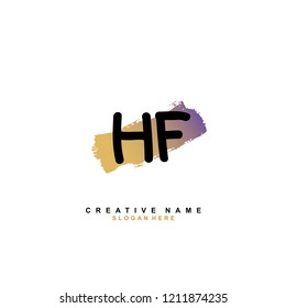 H F HF Initial abstract logo concept vector