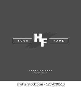 H F HF Initial logo template vector. Letter logo concept
