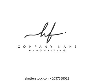 H F Initial handwriting logo