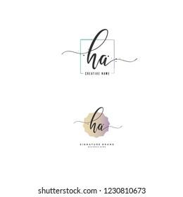 H A HA Initial logo template vector